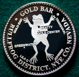 THE GOLD BAR MINE - One Ounce Silver Round - Bullfrog Mining District, Nevada
