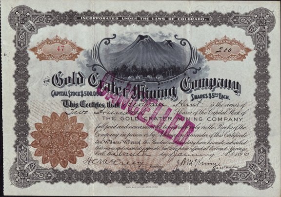 1896 THE GOLD CRATER MINING COMPANY - Cripple Creek District, Colorado