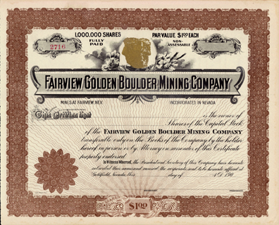 190_ FAIRVIEW GOLDEN BOULDER MINING COMPANY