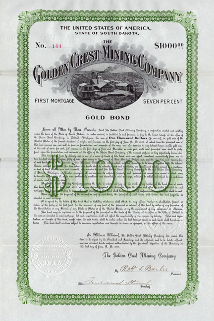 1907 THE GOLDEN CREST MINING COMPANY - Galena, South Dakota - Black Hills