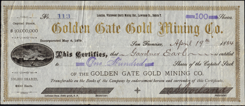 1884 GOLDEN GATE GOLD MINING COMPANY - Dakota Territory