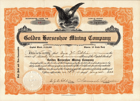 1920 GOLDEN HORSESHOE MINING COMPANY - Quincy, California - Plumas County