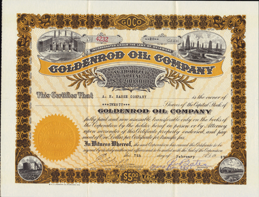 1927 GOLDENROD OIL COMPANY - Dallas, Texas