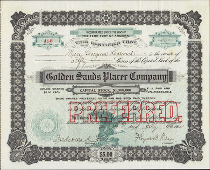 1904 GOLDEN SANDS PLACER COMPANY - Territory of Arizona