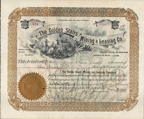 1896 THE GOLDEN STAIRS MINING AND LEASING COMPANY - Cripple Creek District, Colordo