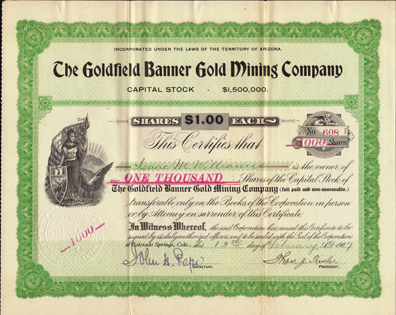 1907 THE GOLDFIELD BANNER GOLD MINING COMPANY - Nevada