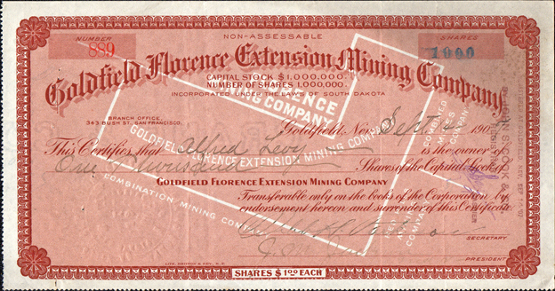 1907 GOLDFIELD FLORENCE EXTENSION MINING COMPANY - Goldfield, Nevada