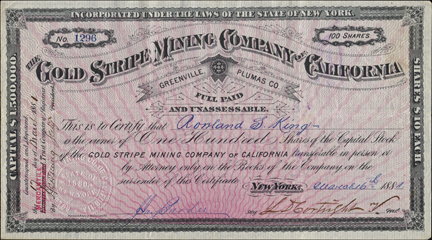 1881 THE GOLD STRIPE MINING COMPANY OF CALIFORNIA