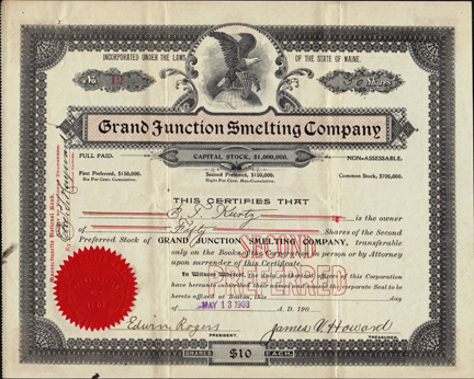 1903 GRAND JUNCTION SMELTING COMPANY - Colorado