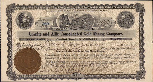 1907 GRANITE AND ALLIE CONSOLIDATED GOLD MINING COMPANY - Murray, Idaho