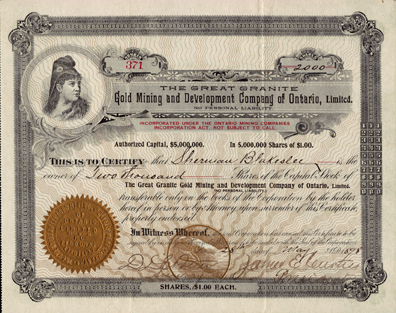 1898 THE GREAT GRANITE GOLD MINING & DEVELOPMENT COMPANY of ONTARIO