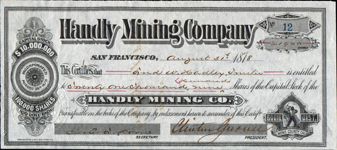 1878 HANDLY MINING COMPANY - Bodie District, California