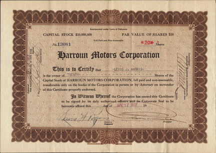 1917 HARROUN MOTORS CORPORATION - Company started by Ray Harroun