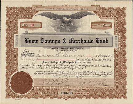1924 HOME SAVINGS AND MERCHANTS BANK - Denver, Colorado