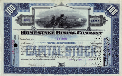100 SHARE BLUE ISSUE HOMESTAKE CERTIFICATE