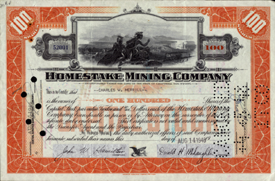 1948 ORANGE 100 SHARE HOMESTAKE CERTIFICATE