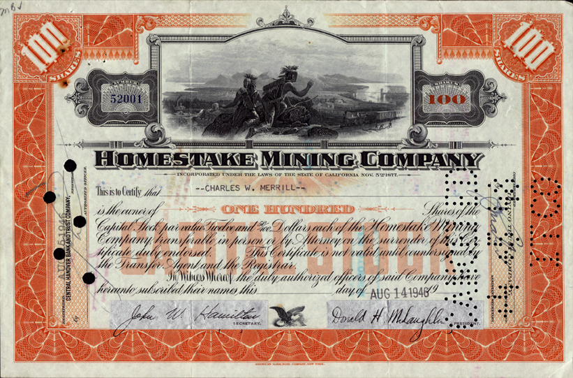 Homestake Mining Company Stock Certificates Page 2