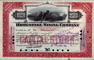1912 RED ISSUE HOMESTAKE CERTIFICATE