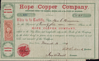 1864 HOPE COPPER COMPANY - Michigan