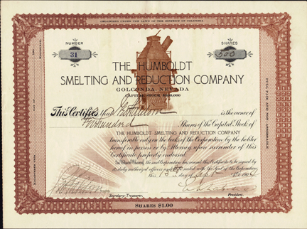 1904 THE HUMBOLDT SMELTING AND REDUCTION COMPANY - Golconda, Nevada