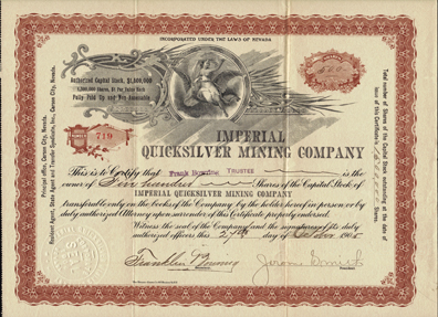 1905 IMPERIAL QUICKSILVER MINING COMPANY - Carson City, Nevada