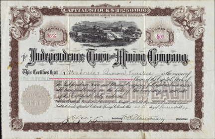 1899 INDEPENDENCE TOWN AND MINING COMPANY - Colorado