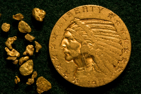 Indian Head $5 Gold Piece and Genuine Gold Nuggets