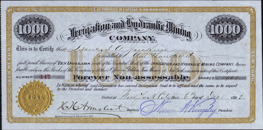 1893 IRRIGATION AND HYDRAULIC MINING COMPANY - Golden, New Mexico