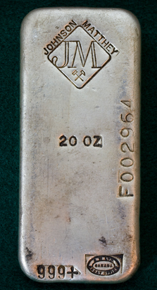 20 Ounce Johnson Matthey Silver Bullion Bar - Old Poured Ingot