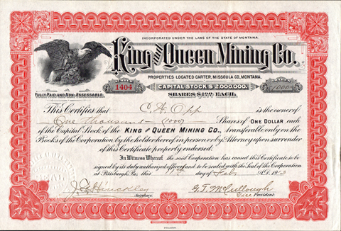 1913 KING AND QUEEN MINING COMPANY - Carter, Missoula County, Montana