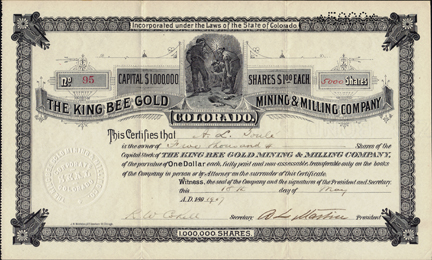 1907 THE KING BEE GOLD MINING AND MILLING COMPANY - Gilpin County, Central City, Colorado