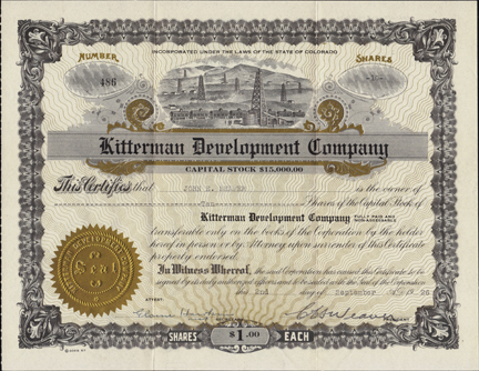 1926 KITTERMAN DEVELOPMENT COMPANY - Colorado Oil