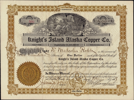 1918 KNIGHTS ISLAND ALASKA COPPER COMPANY - Prince William Sound, Alaska