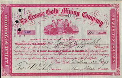 1898 LA CROSSE GOLD MINING COMPANY of Colorado