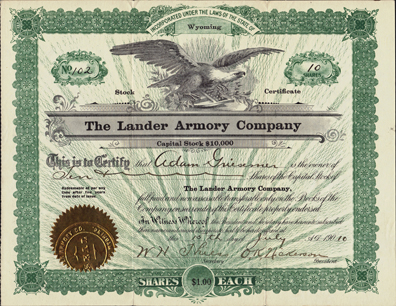 1910 THE LANDER ARMORY COMPANY - Wyoming
