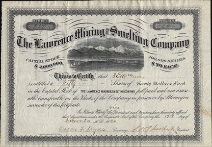 1880 THE LAWRENCE MINING AND SMELTING COMPANY - Leadville, Colorado