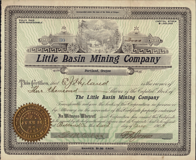 1903 LITTLE BASIN MINING COMPANY - Portland Oregon