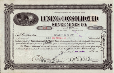 1920 LUNING CONSOLIDATED SILVER MINES COMPANY