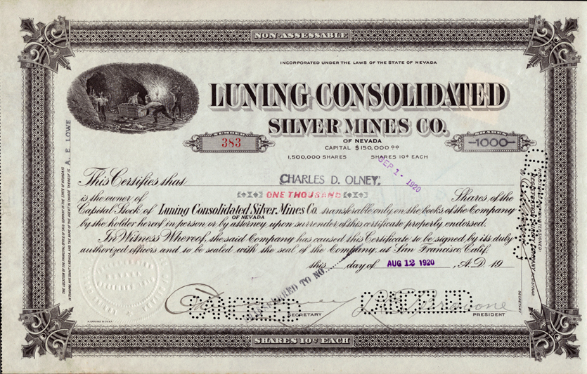 Nevada Mining Stock Certificates Page 2