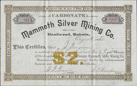1886 MAMMOTH SILVER MINING COMPANY - Deadwood, Dakota