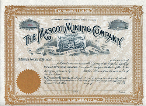 1890s THE MASCOT MINING COMPANY - Free Gold Mining District, Chaffee County, Colorado