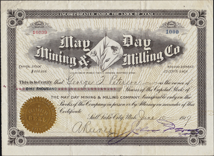 1919 MAY DAY MINING AND MILLING COMPANY - Utah