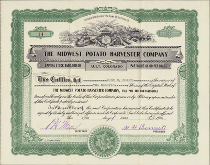 1920 THE MIDWEST POTATO HARVESTER COMPANY - Ault, Colorado