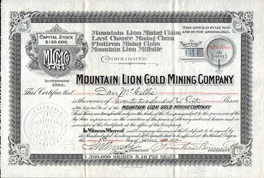 1903 MOUNTAIN LION GOLD MINING COMPANY - Ferry County, Washington - Republic District