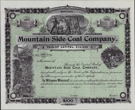 1890s MOUNTAIN SIDE COAL COMPANY - Bozeman, Montana