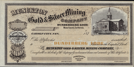 187_ MUNCKTON GOLD AND SILVER MINING COMPANY - Mono County, California