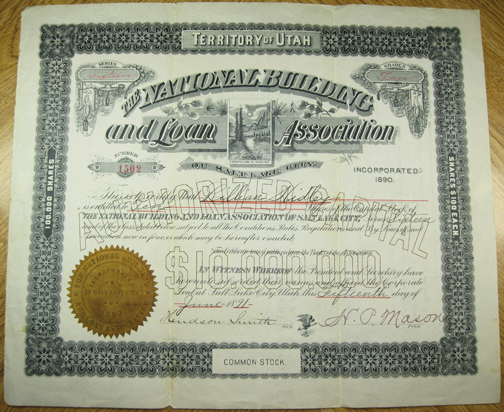 1891 NATIONAL BUILDING AND LOAN ASSOCIATION of Salt Lake City - Territory of Utah