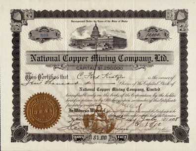 1908 NATIONAL COPPER MINING COMPANY