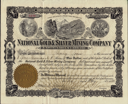1912 NATIONAL GOLD AND SILVER MINING COMPANY - Steins Pass, New Mexico