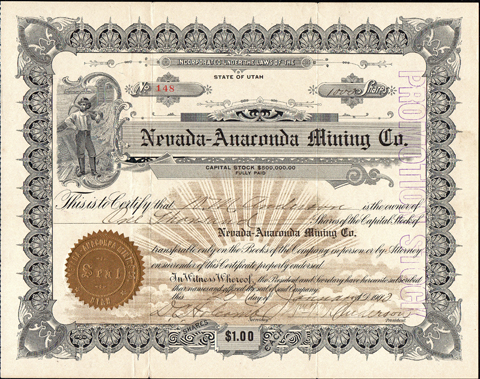 1910 NEVADA ANACONDA MINING COMPANY - Winnemucca, Nevada
